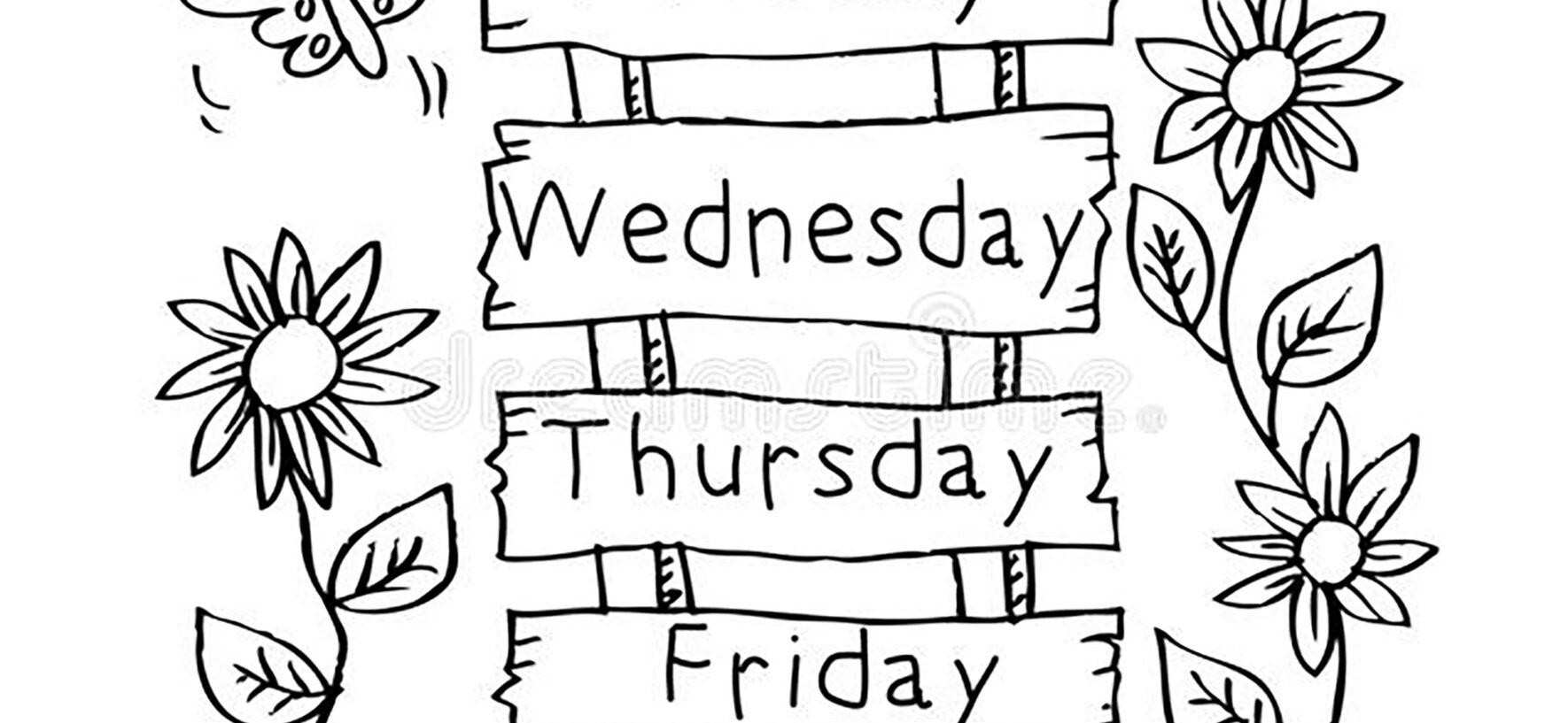 I giorni della settimana in inglese da colorare