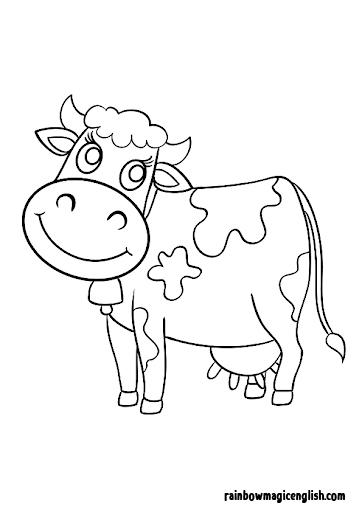 Disegni da colorare e stampare della mucca