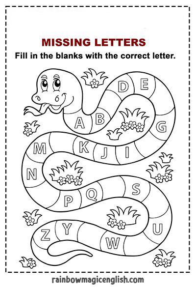 """Serpente da colorare e scheda """"completa le lettere dell'alfabeto"""""""
